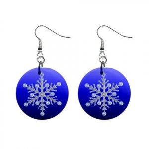 Blue Snowflake Dangle Earrings Jewelry 1 inch Buttons 13092973