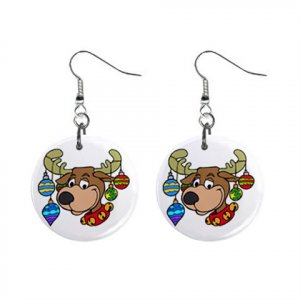 Christmas Holiday Reindeer Dangle Earrings Jewelry 1 inch Buttons 13092958
