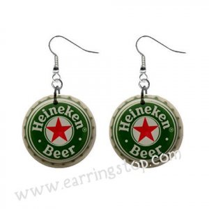 Heinekin Beer Bottle Cap Dangle Button Earrings Jewelry 1 inch Round 16453077