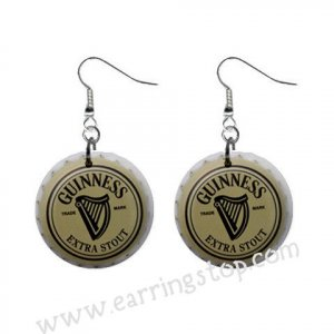 Guinness Beer Bottle Cap Dangle Button Earrings Jewelry 1 inch Round 16453078