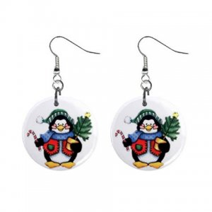 Holiday Penguin Dangle Earrings Jewelry 1 inch Buttons 13092728