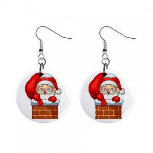Holiday Santa Dangle Earrings Jewelry 1 inch Buttons 13092962