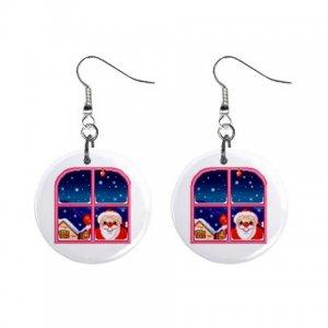 Holiday Santa in Window Dangle Earrings Jewelry 1 inch Buttons 13092966