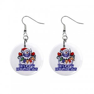 Holiday Snowman Dangle Earrings Jewelry 1 inch Buttons 13092974