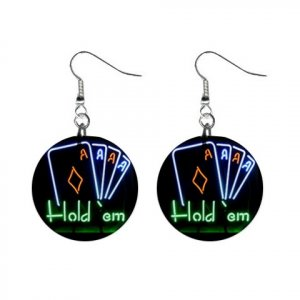 """New Texas Hold 'em Gambling #2 1"""" Round Button Dangle Earrings Jewelry 16546221"""