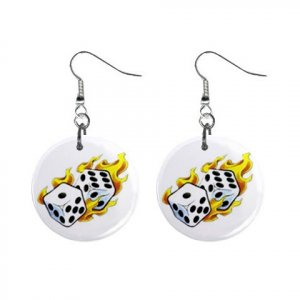 "New Flaming Dice Gambling 1"" Round Button Dangle Earrings Jewelry 16503120"