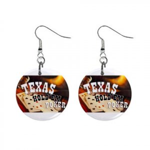 """New Texas Hold 'em Gambling 1"""" Round Button Dangle Earrings Jewelry 16503178"""