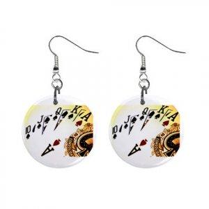 "New Royal Flush Gambling 1"" Round Button Dangle Earrings Jewelry 16503179"