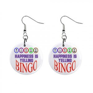 "New Happiness is Yelling Bingo #7 1"" Round Button Dangle Earrings Jewelry 16503183"