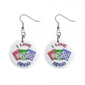 "New I Love Bingo #5 1"" Round Button Dangle Earrings Jewelry 16546217"