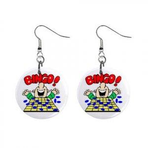 "New Bingo Player #4 1"" Round Button Dangle Earrings Jewelry 16546218"