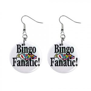 "New Bingo Fanatic #2 1"" Round Button Dangle Earrings Jewelry 16546231"