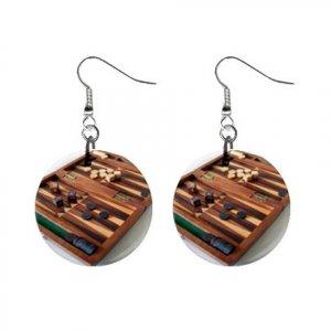 "New Backgammon Board Game Dangle Button Earrings Jewelry 1"" Round 16546461"