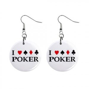 "New I LOVE POKER  Gambling 1"" Round Button Dangle Earrings Jewelry 16546476"