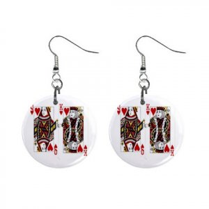 """New Cards King Queen Gambling 1"""" Round Button Dangle Earrings Jewelry 16546486"""