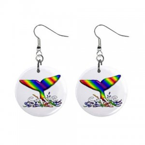 "Rainbow SAVE THE WHALES 1"" Round Button Dangle Earrings Jewelry 26728225 rainbow-save"