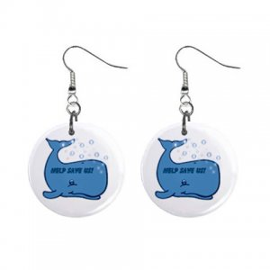 """SAVE THE WHALES 1"""" Round Button Dangle Earrings Jewelry 26728233 child-whale"""