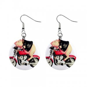"""Hog on a motorcycle Pig 1"""" Round Button Dangle Earrings Jewelry 27184388 HogonMotorcycle"""
