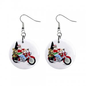"""Santa on a motorcycle 1"""" Round Button Dangle Earrings Jewelry 27184418 santapacked"""