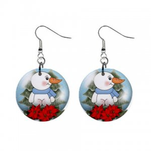 "Snowman Snowglobe 1"" Round Button Dangle Earrings Jewelry 29986952 snowman-snowglobe"