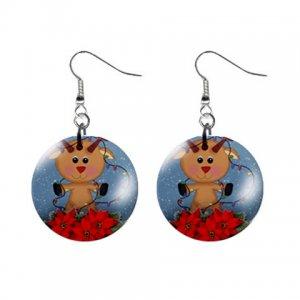 "Reindeer Snowglobe 1"" Round Button Dangle Earrings Jewelry 29986953 reindeer-snowglobe"