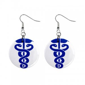 Medical Cadecus Dangle Button Earrings Jewelry 1 inch Round 17392946 medicalsymbol4