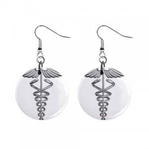 Cadecus Medical Doctor Dangle Button Earrings Jewelry 1 inch Round 17393239 NurseSymbol1