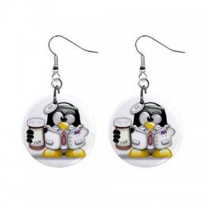 Cartoon Doctor Penguin Dangle Button Earrings Jewelry 1 inch Round 30607375