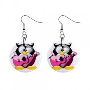 Cartoon Rock and Roll Penguin Dangle Button Earrings Jewelry 1 inch Round 30607366