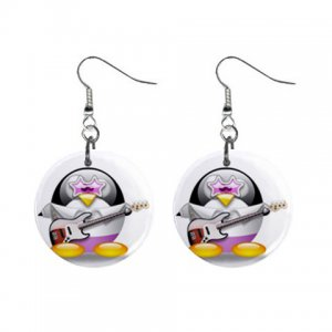 Cartoon Rock and Roll Penguin Dangle Button Earrings Jewelry 1 inch Round 30607370