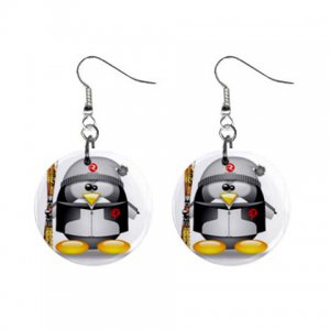 Cartoon Snow skiing Penguin Dangle Button Earrings Jewelry 1 inch Round 30607371