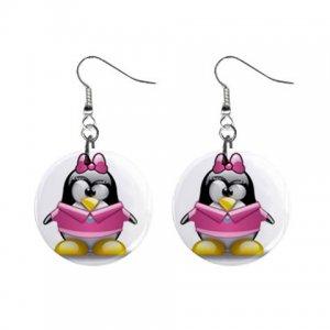 Cartoon Pink Girl Penguin Dangle Button Earrings Jewelry 1 inch Round 30607376