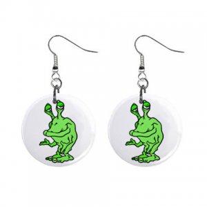 Cartoon Green Alien Dangle Button Earrings Jewelry 1 inch Round 12794640