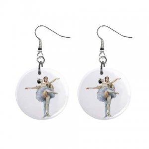 Ballerina Dangle Button Earrings Jewelry 1 inch Round 12894185