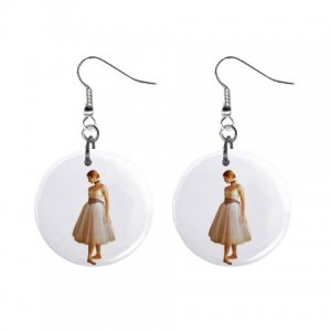 Ballerina Dangle Button Earrings Jewelry 1 inch Round 12894186