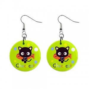 Cartoon Cat Dangle Button Earrings Jewelry 1 inch Round 12289364