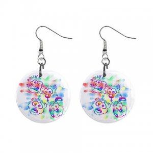 Cartoon Art Dangle Button Earrings Jewelry 1 inch Round 12897937