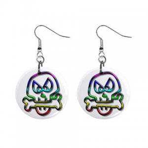 Cartoon Skull Dangle Button Earrings Jewelry 1 inch Round 12897939
