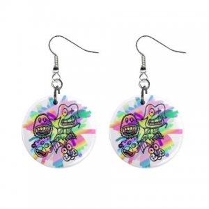 Cartoon Art Dangle Button Earrings Jewelry 1 inch Round 12897938