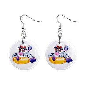 Cartoon Cow Dangle Button Earrings Jewelry 1 inch Round 13857159
