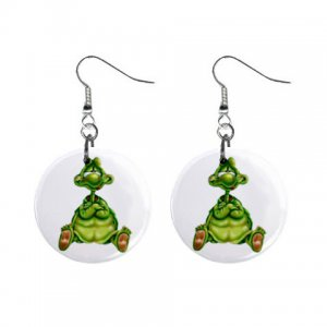 Cartoon Turtle Dangle Button Earrings Jewelry 1 inch Round 12479608