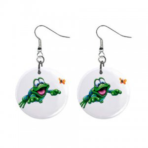 Cartoon leap Frog Dangle Button Earrings Jewelry 1 inch Round 12479613