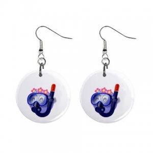 Cartoon Scuba Dangle Button Earrings Jewelry 1 inch Round 31314332
