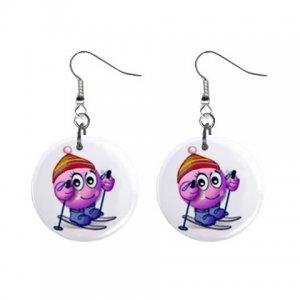 Cartoon Skiing Dangle Button Earrings Jewelry 1 inch Round 31314333
