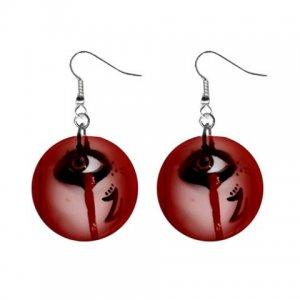 Bloody Eye Dangle Button Earrings Jewelry 1 inch Round 31314336