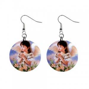 Little Angel Dangle Button Earrings Jewelry 1 inch Round 16452783