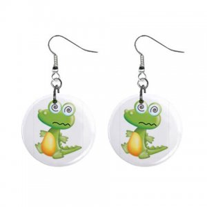 Cartoon Alligator Dangle Button Earrings Jewelry 1 inch Round 12894143