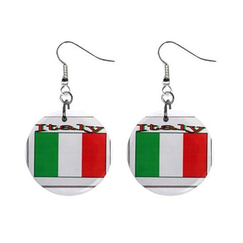 Italian Flag Italy Dangle Button Earrings Jewelry 1 inch Round 16500902