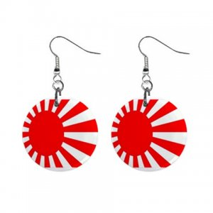 Japanese Flag Japan Dangle Button Earrings Jewelry 1 inch Round 16501380