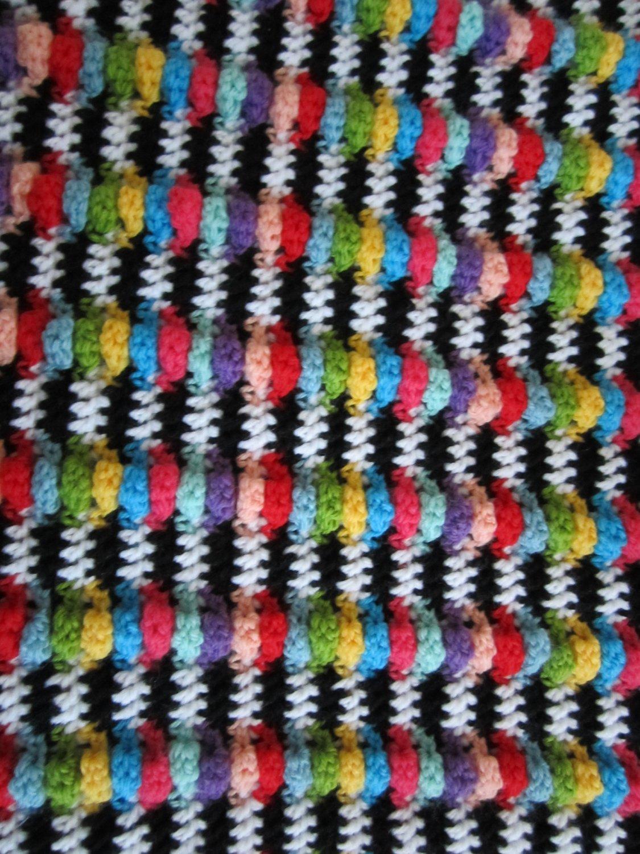 Crochet Ripple Zebra Double Twin Size Afghan